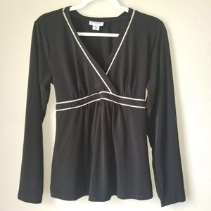 MotherHood Materenity Black Top with White Piping